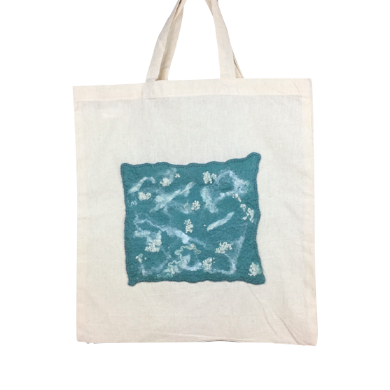 Shopping, tote bag with duck egg and white abstract felted panel