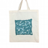 Shopping, tote bag with duck egg and white abstract felted panel - SALE