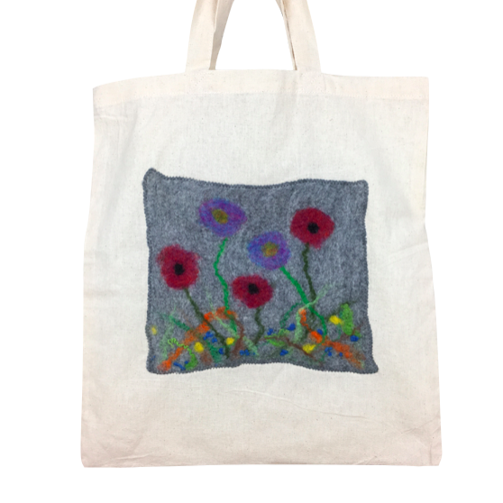 Shopping, tote bag with grey felted floral panel