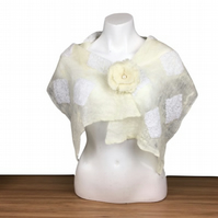 Lightweight felted wedding scarf or shawl, white with lace and floral pin