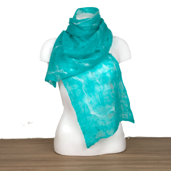 Lightweight, finely felted turquoise scarf with silk highlights