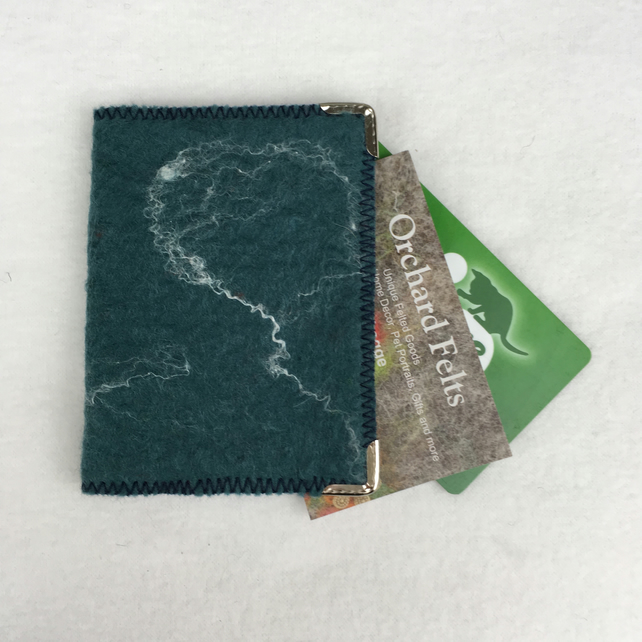 Card wallet for business, credit, and ID cards, felted in duckegg blue
