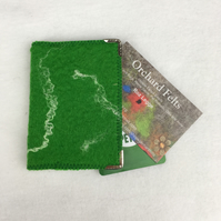 Bright green hand felted credit card wallet