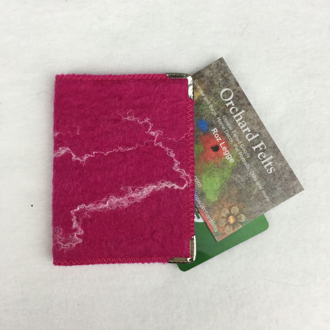 bright pink hand felted credit or business card  folksy