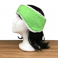 Bright green felted ear warmer, muff, headband with sherpa fleece lining