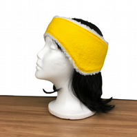 Felted ear warmer, muff, headband in yellow with sherpa fleece lining