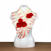 Felted scarf, white with ruffled border, red detail and roses - SALE