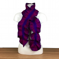 Purple, pink and blue felted ruffle scarf, double sided