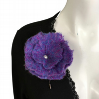 Felted flower brooch, corsage, purple