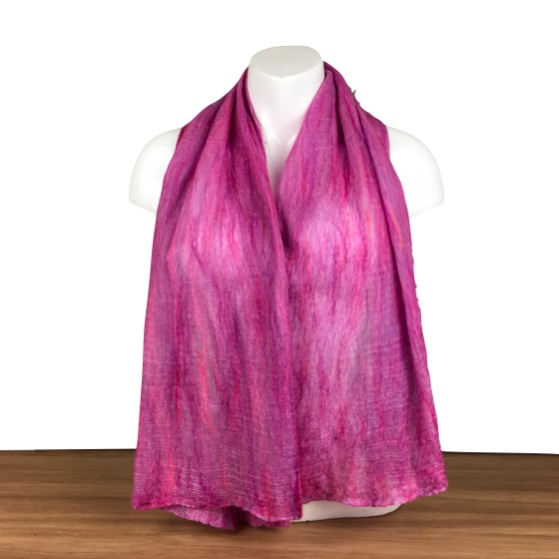 Gift boxed nuno felted scarf in pink and lilac, merino wool on silk