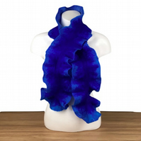Blue felted ruffle scarf, double sided SALE