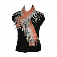Grey and terracotta felted scarf with fringe, gift boxed