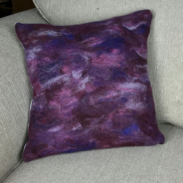 "Hand felted cushion in purple shades (15"")"