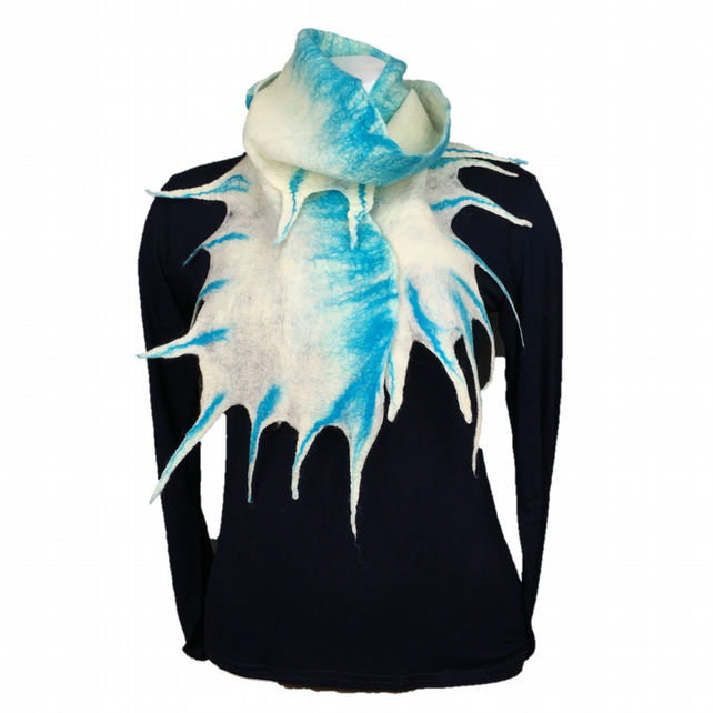 White and blue merino wool felted scarf wth fronds supplied with gift box
