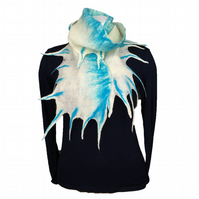 White and blue merino wool felted scarf wth fronds