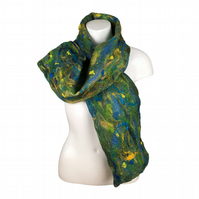 Felted scarf in shades of blue,green and yellow with silk and wool embellishment
