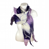 Purple and white felted scarf with various decorative additions, gift boxed