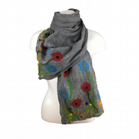 Grey nuno felted long floral scarf, merino wool on silk, gift boxed