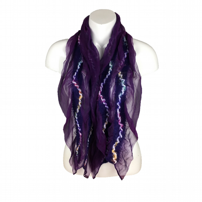 Purple silk chiffon scarf with nuno felted panels in merino wool