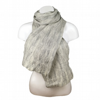 Grey merino wool Felted Scarf, unisex, gift boxed