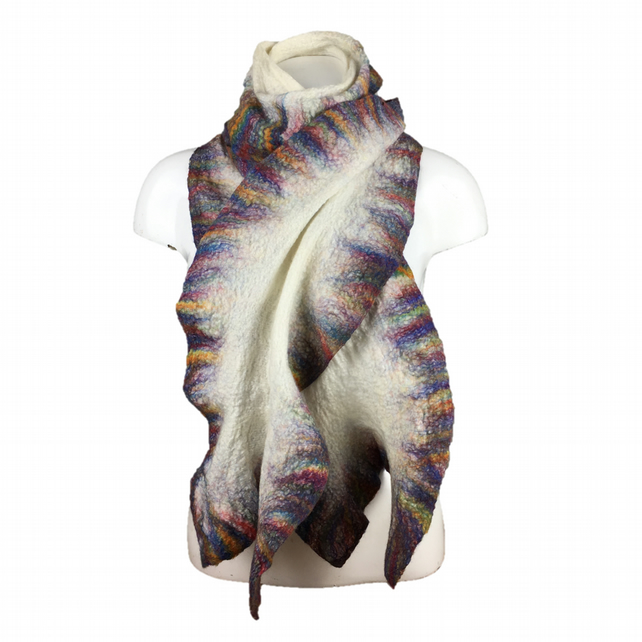 Long white nuno felted scarf with ruffled rainbow border, gift boxed