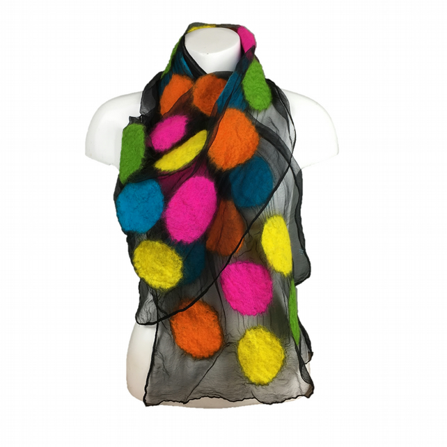 Nuno felted scarf, black silk chiffon with neon merino wool circles
