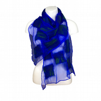 Nuno felted scarf, blue silk chiffon with merino wool square panels