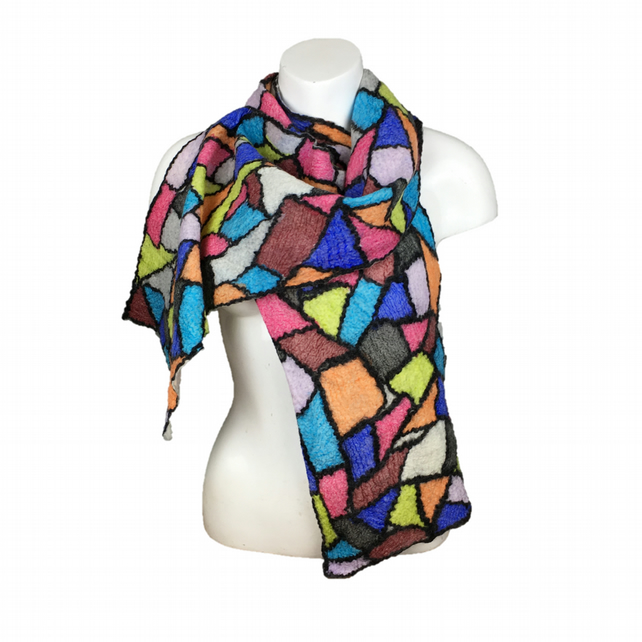 Nuno felted scarf, merino wool with silk panels, stained glass effect