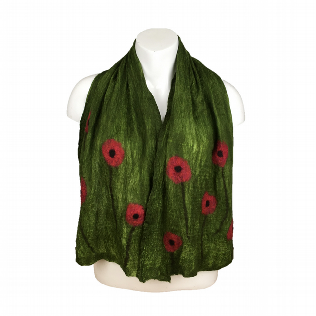 Green nuno felted scarf with poppies, merino wool on silk, gift boxed