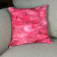"Felted merino wool cushion in shades of red and pink (15"")"