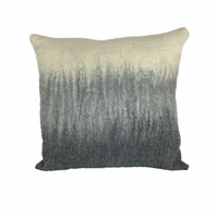 "Grey and white merino wool hand felted cushion, includes pad (15"")"