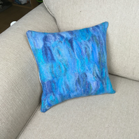 "Cushion, hand felted in blue shades (15"")"