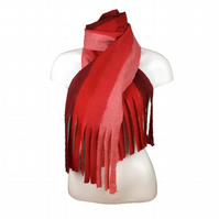 Felted, shades of red striped scarf with tassels