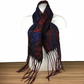 Merino wool felted scarf in black with red and purple silk embellishment
