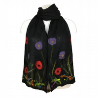 Long black nuno felted floral scarf, merino wool on silk