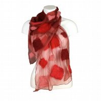 Red silk chiffon scarf with nuno felted merino wool squares