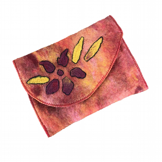 Hand felted pouch in red, pink and yellow, passport holder, make up bag