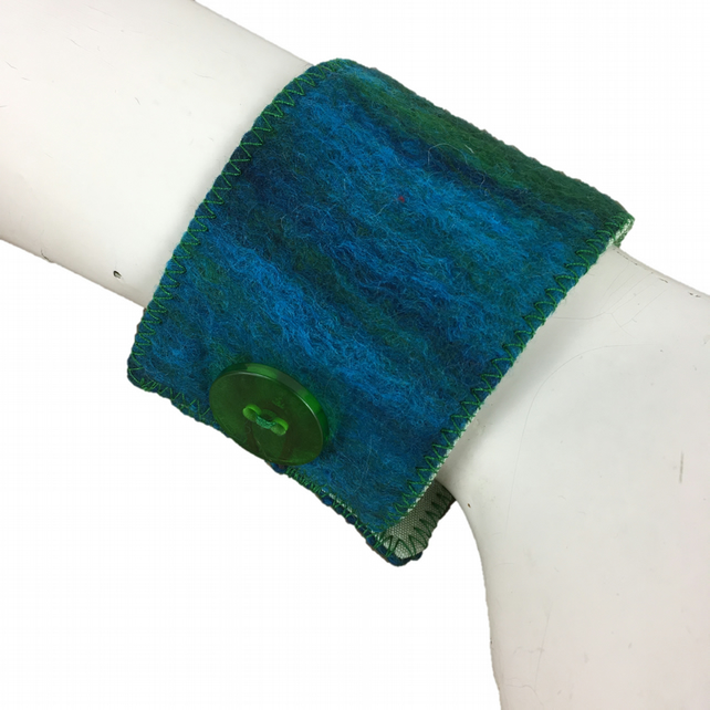 Felted wrist cuff in blue and green merino wool