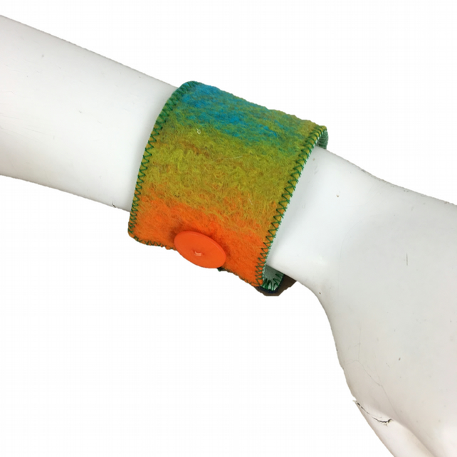 Felted cuff in brightly coloured merino wool
