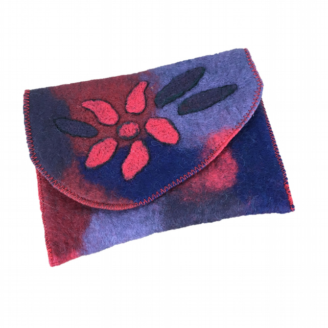Felted pouch, passport holder, make up bag in red, blue and purple merino wool