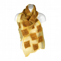 Yellow silk chiffon scarf with nuno felted merino wool panels