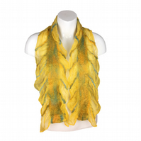 Yellow silk chiffon scarf with nuno felted panels in merino wool, gift boxed