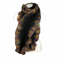 Black merino wool felted scarf with rainbow ruffled border, gift boxed