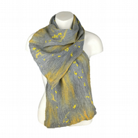 Grey and yellow nuno felted merino wool and silk scarf