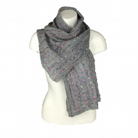 Grey nuno felted scarf with iridescent ladder yarn