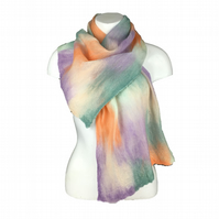 Merino wool nuno felted silk scarf in pastel shades