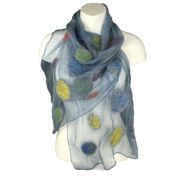 Grey silk chiffon scarf with nuno felted wool circles coloured with silk fibres
