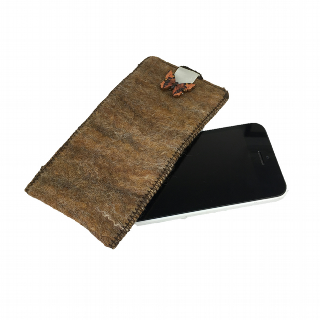 Hand felted sleeve for iPhone 5 in brown