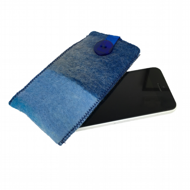 Felted sleeve for iPhone 5 in shade of blue