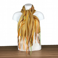 Lightweight nuno felted scarf in spring colours